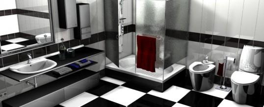 bano moderno negro y blanco