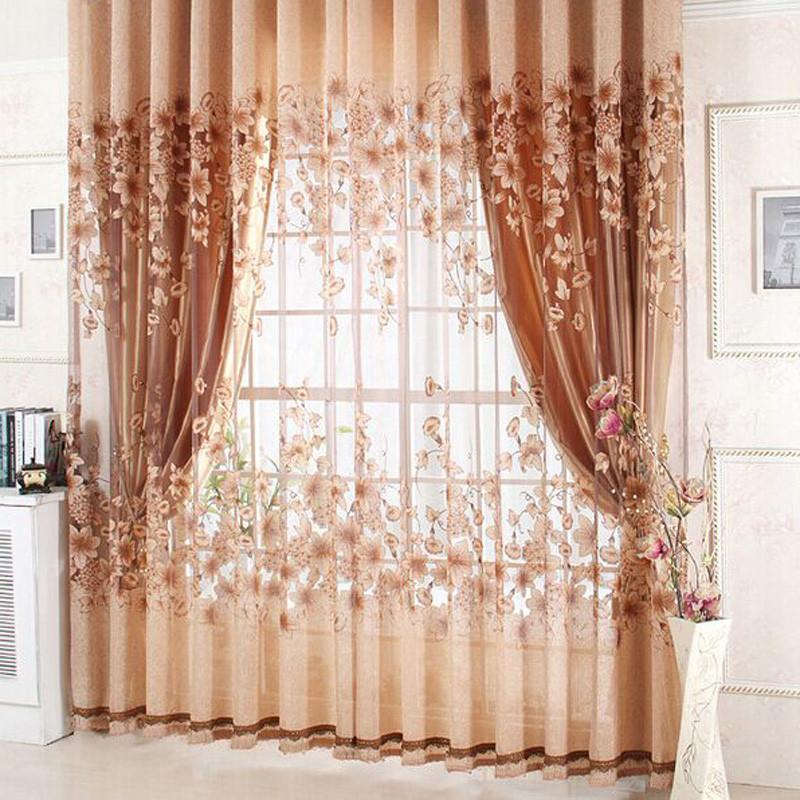 15 fascinantes cortinas florales for Cortinas comedor baratas