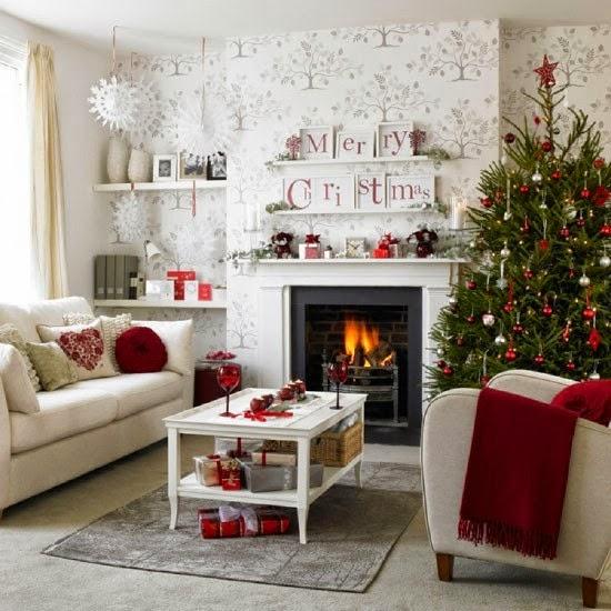 15 estupendas ideas para decorar tu sal n estas navidades - Como decorar un salon en navidad ...