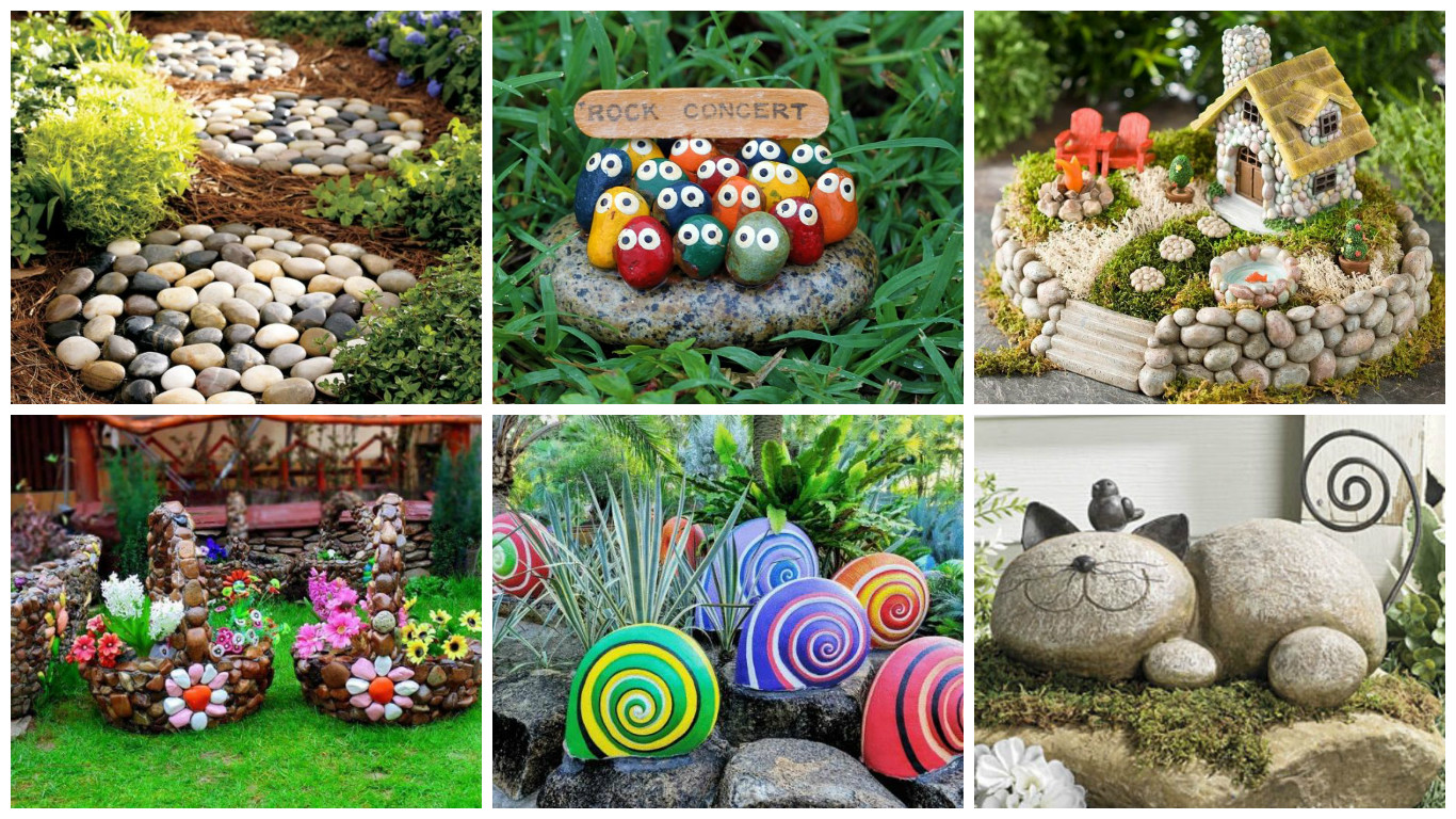 20 hermosas ideas para decorar tu jard n con piedras for Ideas de decoracion reciclando