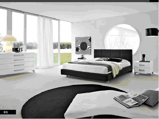 dormitorio blanco negro