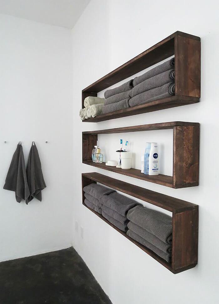20 ideas creativas para hacer estantes colgantes para - Estanterias cuarto de bano ...