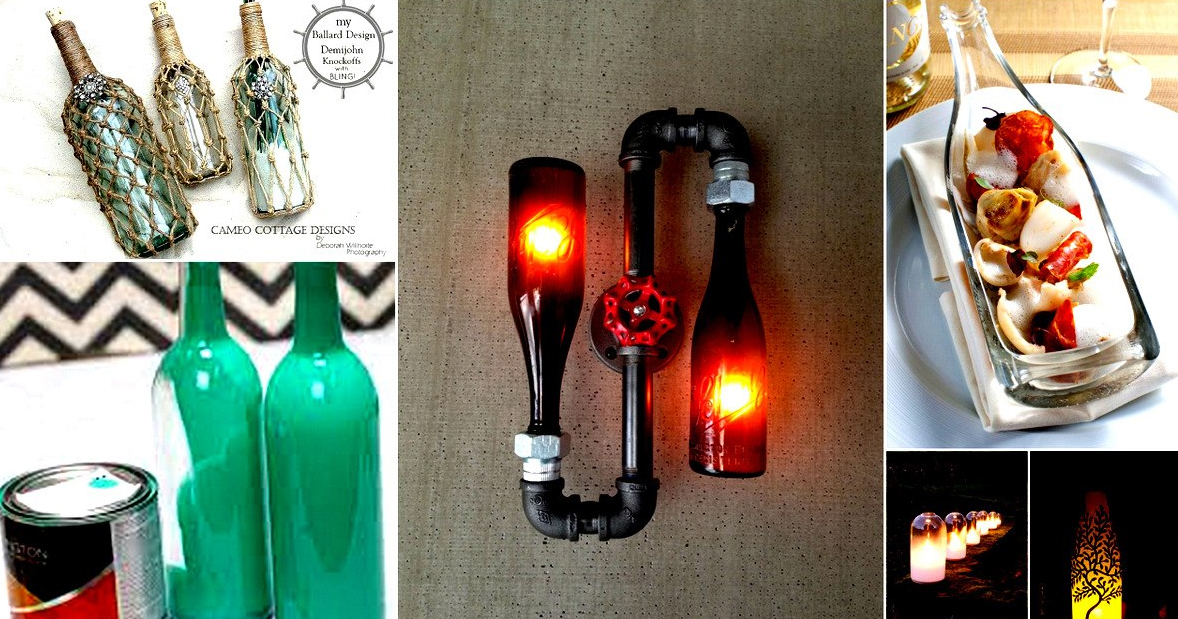 20 creativas ideas para reciclar botellas de vidrio que for Reciclar botellas de vidrio