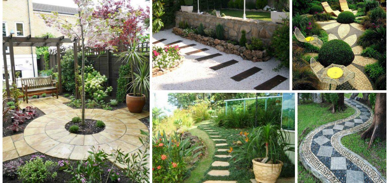 13 maravillosos senderos y caminos de piedras en el jard n for Camino de piedra jardin