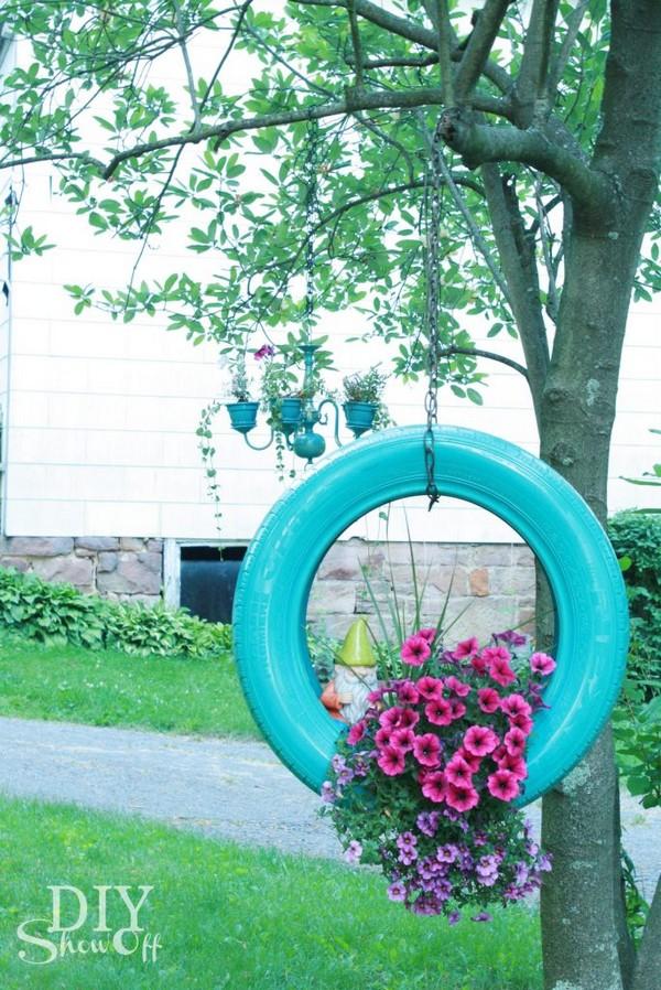 15+ Hermosas Ideas para Decorar Macetas de Neumáticos Viejos
