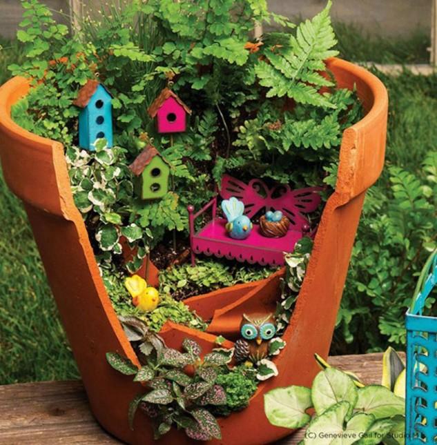 20+ Recicla tus Ollas Rotas para Crear Jardines Miniatura Fantástico
