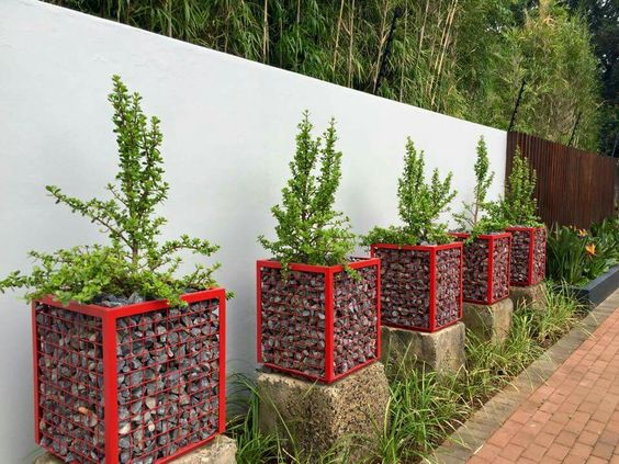 20+ Impresionantes Diseños de Plantadores con Gabion