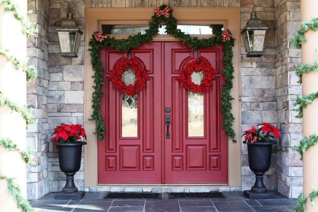 15+ Sensacional Decoración de Puerta de Entrada para Navidad