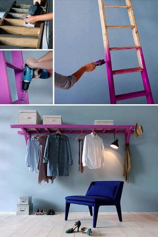 20+ Ideas Creativas para Reciclar Escaleras Vintage