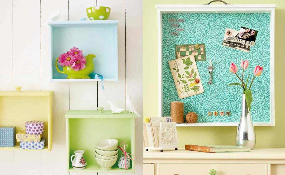 20 creativas ideas para reutilizar tus viejos cajones for Como decorar un buro